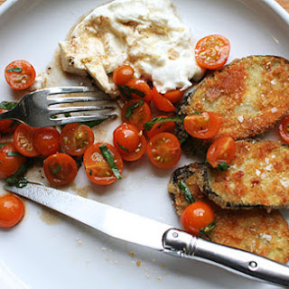 Tomatoes with Crisp Fried Eggplant and Burrata (from Martha Stewart Living)
