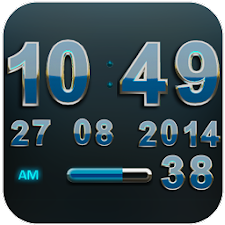 Digi Clock Widget Lightblue St