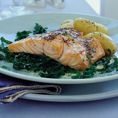 Grilled salmon with curly kale & a Noilly Prat sauce