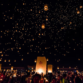Flying Lanterns Festival by Thet Zaw Nyunt - People Group/Corporate