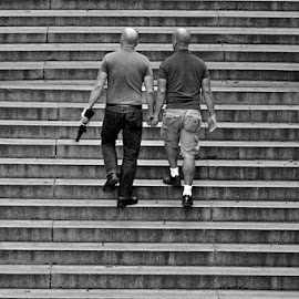 The Couple by Jil Norberto - People Street & Candids ( love, hairless, stairs, black and white, men,  )
