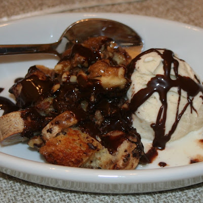 Chunky Monkey Bananas Foster Bread Pudding with Chocolate Sauce