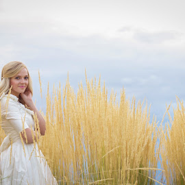 Blonde Beauty by Gennaveeve Ibarra - Wedding Bride ( utah bridal, bride in tall grass, bridals, oquirrh mountain temple, salt lake city wedding )