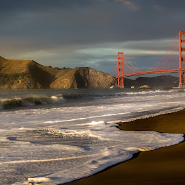 A Golden, Golden Gate by Matt Shell - Buildings & Architecture Bridges & Suspended Structures ( ocean, beach, golden gate, bridge, san francisco )