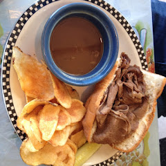 GF homemade potato chips and prime rib dip sand which