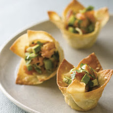 Won Ton Cups with Hot-Smoked Salmon and Avocado