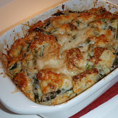 Asparagus, Ham, and Fontina Bread Puddings