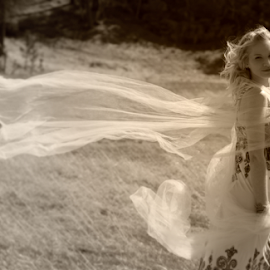 Wind Dance by Mark Stites - People Fashion ( #tulle #model #sepia #blackhills #britt )