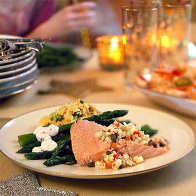 Cold Poached Salmon with Fennel-Pepper Relish