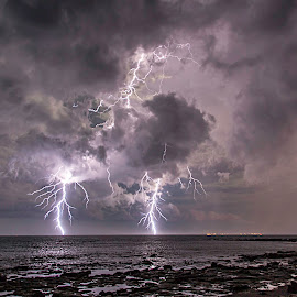 double banger by Leon Chester - Landscapes Weather ( clouds, stormy, water, thunderstorm, night scene, beach, storm, lightning, sky, night photography, weather, night, rocks )