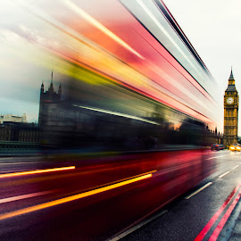 London Blaze by Bharath Pasupuleti - City,  Street & Park  Street Scenes ( bus, london, westminster, road, big ben )