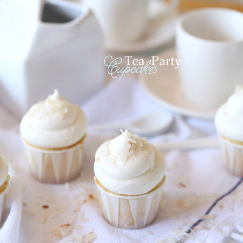 Almond Cupcakes with Coconut Buttercream Frosting