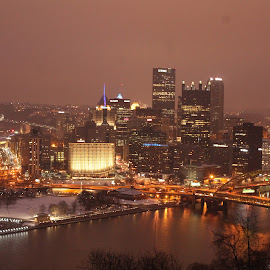 Pittsburgh Pennsylvania by Tina Marie - City,  Street & Park  Skylines ( water, lights, pittsburgh pennsylvania, skyline, skyscraper, pittsburgh, buildings, nightime, night, river, city )