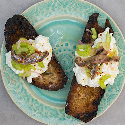 Burrata with Grilled Bread and Anchovies