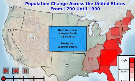 US Population Change 1790-1990