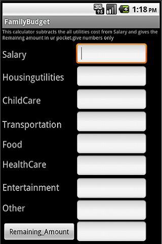 Family Budget Estimator