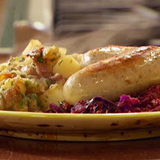 Braised Bockwurst and Warm Vegetable-Hard Cider 'Kraut with German Style Potatoes