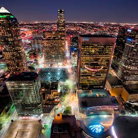 North Dallas by Adam Norton - City,  Street & Park  Skylines ( lights, dallas, buildings, night, cityscape, north, glow, city )