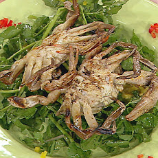 Grilled Soft-Shell Crabs with Watercress, Avocado, and Mango Salad with Grapefruit Vinaigrette