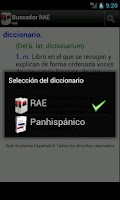 Screenshot of RAE Spanish dictionary