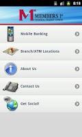 Screenshot of Members1st FCU Mobile