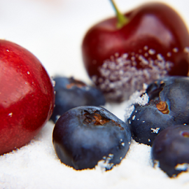 Cherries and Blueberries in Sugar by Lizzy Foxx - Food & Drink Fruits & Vegetables ( cherry, berry, fruit, blueberry, health, sugar )