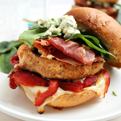 Turkey Burgers with Roasted Red Peppers + Blue Cheese + Serrano Ham Chips