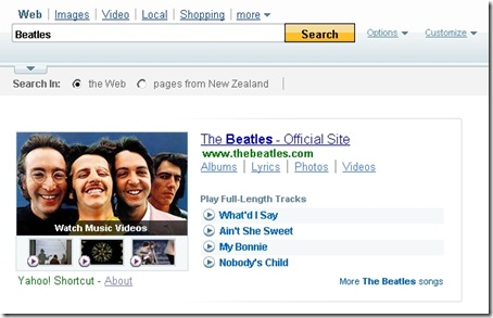 Yahoo!新增Music Artist Shortcut, 可以直接收看網路視頻和收聽音樂!