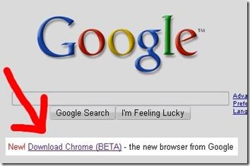 Google首頁裡的Google Chrome BETA下載連結 - Google Chrome Available for Downloading