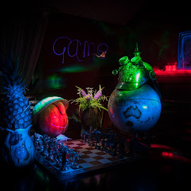 Chess game by Andrey Ivanoff - Abstract Light Painting ( night photography, chess, game, pineapple, flowers, Lighting, moods, mood lighting )
