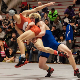 by Greg DesBrisay - Sports & Fitness Other Sports ( orange, blue, wrestling, men, airborn )