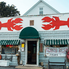 SCARBORO LOBSTER PURE MAINE. by Walter Carlson - Buildings & Architecture Other Interior ( us1, building, red, maine, fish m arket, fish, lobster )