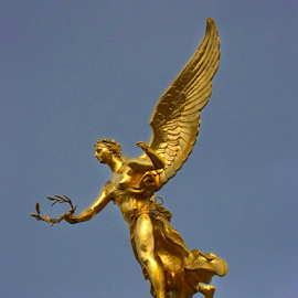 Angelic Emissary  by Don Teachout - Buildings & Architecture Statues & Monuments ( angel, statue, reims, france, golden,  )