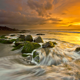 Side Light by Choky Ochtavian Watulingas - Landscapes Waterscapes ( clouds, sky, wave, moss, stone, boulder, beach, sunrise, crags )
