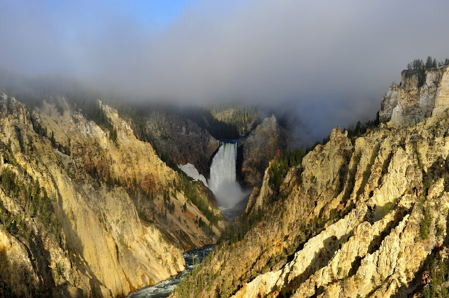 Low Hanging Clouds by Roy Walter - Landscapes Travel ( clouds, nature, yellowstone national park, waterfall, river )