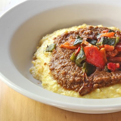 Cheesy Polenta with Mole and Peppers