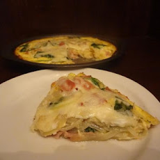 Bacon Spinach Quiche on Mashed Potatoes