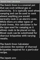 Screenshot of Dutch Oven Calculator