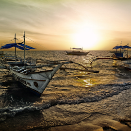 Bangka at Sunrise by Ferdinand Ludo - Transportation Boats ( cebu city, bantayan island, march 2015 )