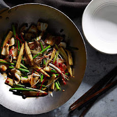 Calamari Stir-fry With Glass Noodles, Garlic Shoots And Baby Corn