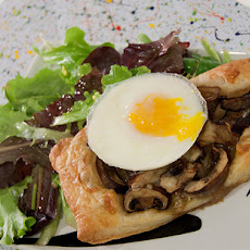 Flaky Mushroom and Gruyere Tarts with Mixed Greens and Poached Eggs