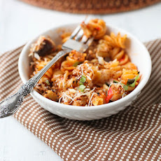 Cheesy Baked Pasta with Roasted Red Pepper Sauce and Eggplant