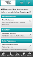 Screenshot of helloMobil Servicewelt