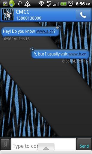 GO SMS THEME ZebraBlue1