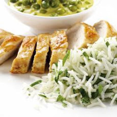 Baked Chicken With A Creamy Pea Masala And Coriander Basmati Rice