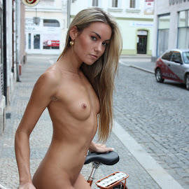 young girl on bike by Petr Zajac - Nudes & Boudoir Boudoir ( land, device, transportation )