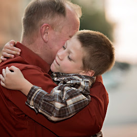 From the heart by Carole Brown - People Family ( hugging, grandfather, street scene, grandson, plaid shirt, rust  shirt )