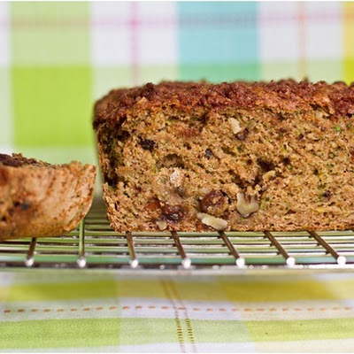 Oil-Free Zucchini Walnut Raisin Loaf with Cinnamon Streusel