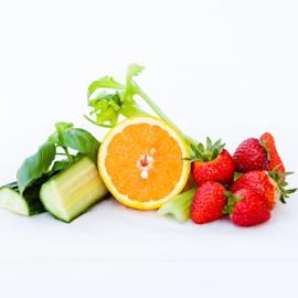 fruit and veggie plate by Gabi Dibos - Food & Drink Ingredients ( raw, orange, fruit, colorful, vegetables, basil, ingredients, cucumber, vitamins, fresh, food, healthy eating, strawberries, celery, healthy, fruits and vegetables )