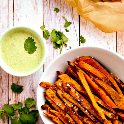 Sweet Potato Fries with Cilantro & Hemp Seed Aioli | Vegan & Gluten-Free